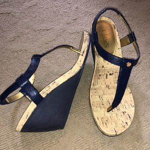 Navy blue Chaps wedge sandals. Size 9.